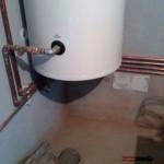 Boiler termoelectric Eldom de 200 litri,conectat la centrala pe lemne cu gazeificare Atmos.